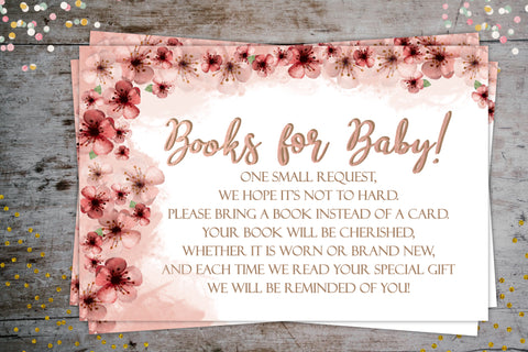 Cherry Blossom Baby Shower Books for baby request card instant digital download designLEE Studio