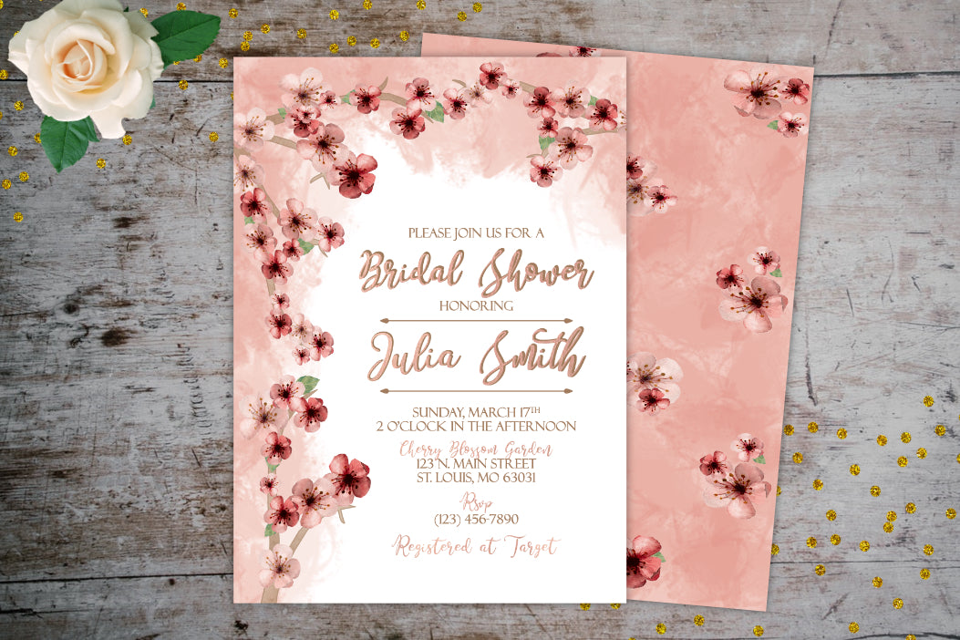 Cherry Blossom Bridal Shower Invitation | Pink Watercolor Invitation, Bridal Shower Invitations, designLEE Studio, designLEE Studio