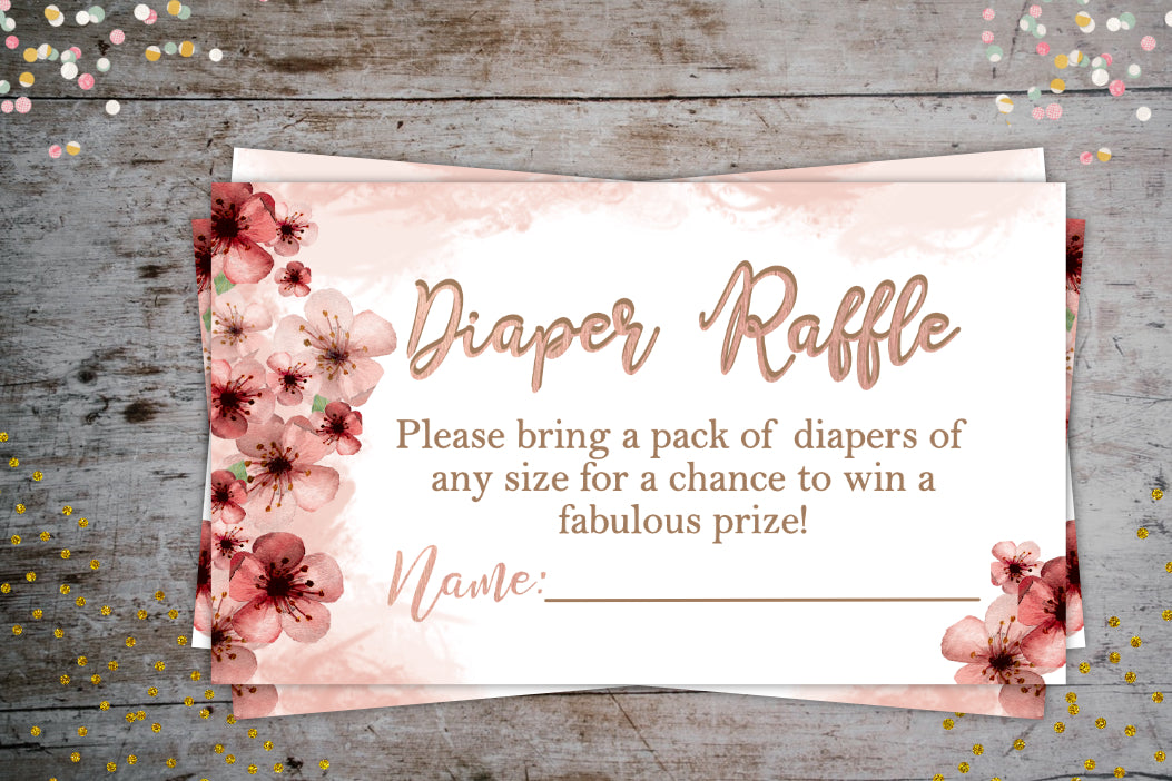 Cherry Blossom Diaper Raffle Tickets | Baby Shower Printable Party Extra, Digital Download, designLEE Studio, designLEE Studio