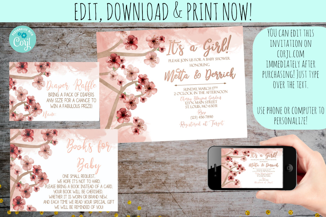 Cherry Blossom Baby Shower Invitation Party Package | Pink Floral Watercolor, Baby Shower Party Package, designLEE Studio, designLEE Studio