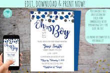 Load image into Gallery viewer, Confetti Baby Shower Invitation For A Boy | Oh Boy, Baby Shower!, Baby Shower, designLEE Studio, designLEE Studio