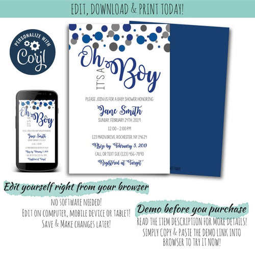 Confetti Baby Shower Party Set For a Boy | Confetti Sprinkle Baby Shower Boy, Baby Shower Party Package, designLEE Studio, designLEE Studio