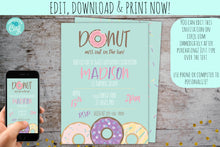 Load image into Gallery viewer, Donut Birthday Party | Donut Grow Up Birthday Invitation, Birthday Invite, designLEE Studio, designLEE Studio