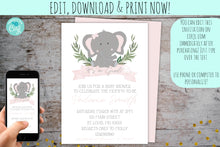 Load image into Gallery viewer, Elephant Baby Shower Invitation Package For A Girl | Baby Elephant Pink Watercolor Invite, Baby Shower, designLEE Studio, designLEE Studio