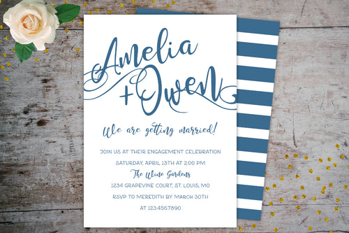 Modern Engagement Party Invitation, Engagement Party Invitations, designLEE Studio, designLEE Studio