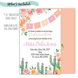 Fiesta Graduation Celebration Invitation | Fiesta Party Invitation, Graduation Invite, designLEE Studio, designLEE Studio