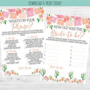 Fiesta Celebration - Bridal Shower Party Game Cards, Party Games, designLEE Studio, designLEE Studio