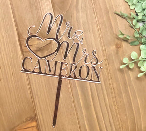 Rose Gold Mirror Acrylic Mr & Mrs Last Name Cake Topper | Personalized Cake Topper, Cake Toppers, designLEE Studio, designLEE Studio