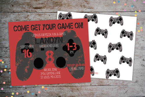 Game On Video Game Controller Birthday Invitation, Birthday Invite, designLEE Studio, designLEE Studio