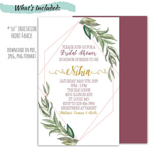 Geometric Greenery Bridal Shower Invitation | WaterColor Eucalyptus Bridal Invitation, Bridal Shower Invitations, designLEE Studio, designLEE Studio