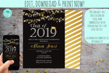 Load image into Gallery viewer, Black & Gold Shimmer Graduation Invitation | Elegant Graduation Invite, Graduation Invite, designLEE Studio, designLEE Studio