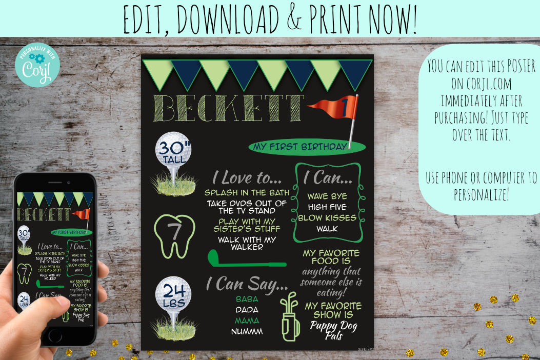 Chalkboard Golf Birthday Milestone Stat Sign | Kids Birthday Invitation, Poster, designLEE Studio, designLEE Studio
