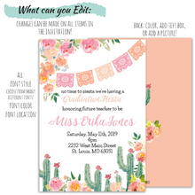 Load image into Gallery viewer, Fiesta Graduation Celebration Invitation | Fiesta Party Invitation, Graduation Invite, designLEE Studio, designLEE Studio