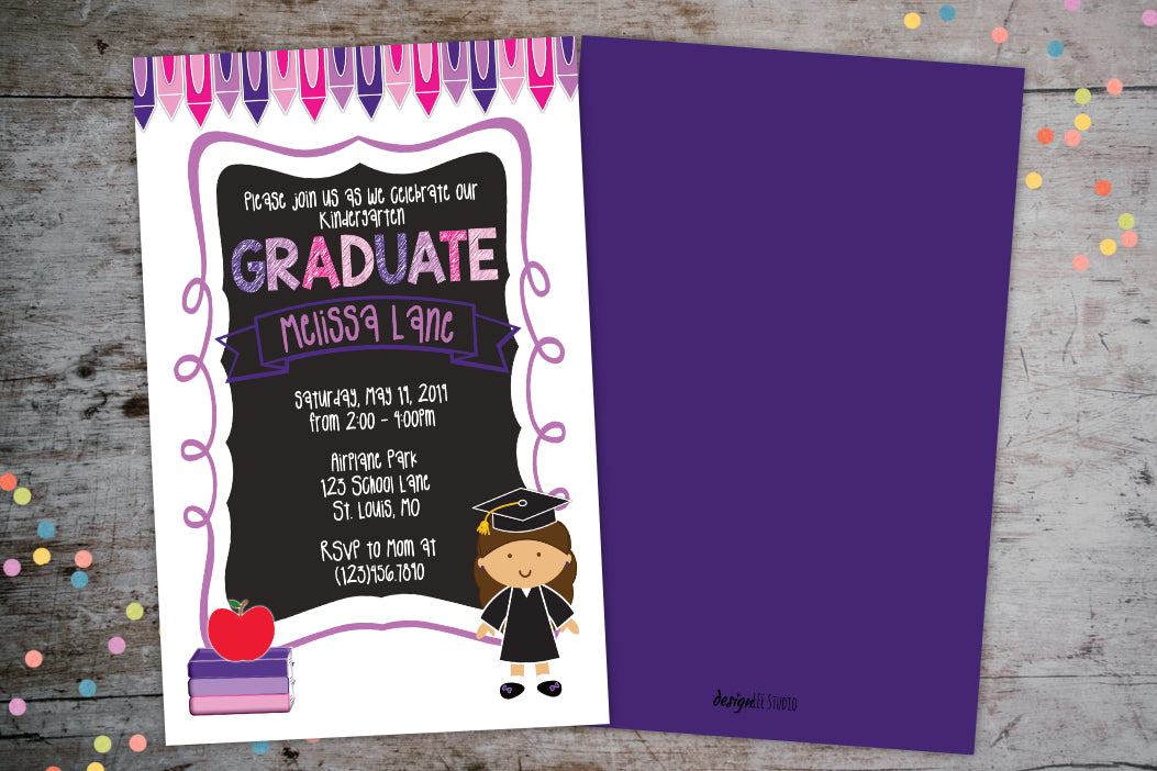 Kindergarten Graduation Announcement Invitation For a Girl, Graduation Invite, designLEE Studio, designLEE Studio