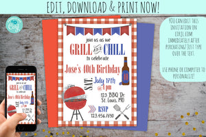 Grill & Chill BBQ 40th Birthday Invitation | Grillin' & Chillin' Party Invite, Birthday Invite, designLEE Studio, designLEE Studio