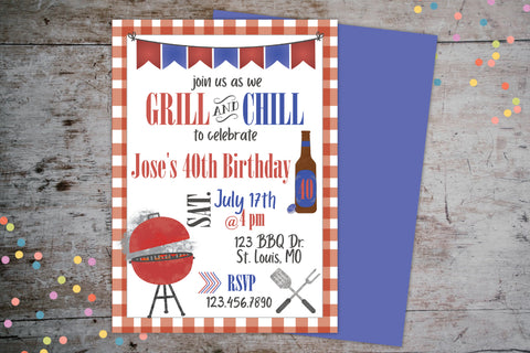 Grill Chill BBQ 40th Birthday Invitation