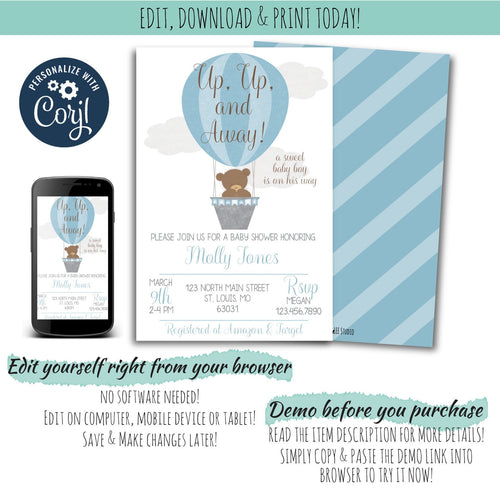 Hot Air Balloon Baby Shower Invitation For a Boy |  Up, Up, & Away Baby Shower Party Package, Baby Shower, designLEE Studio, designLEE Studio