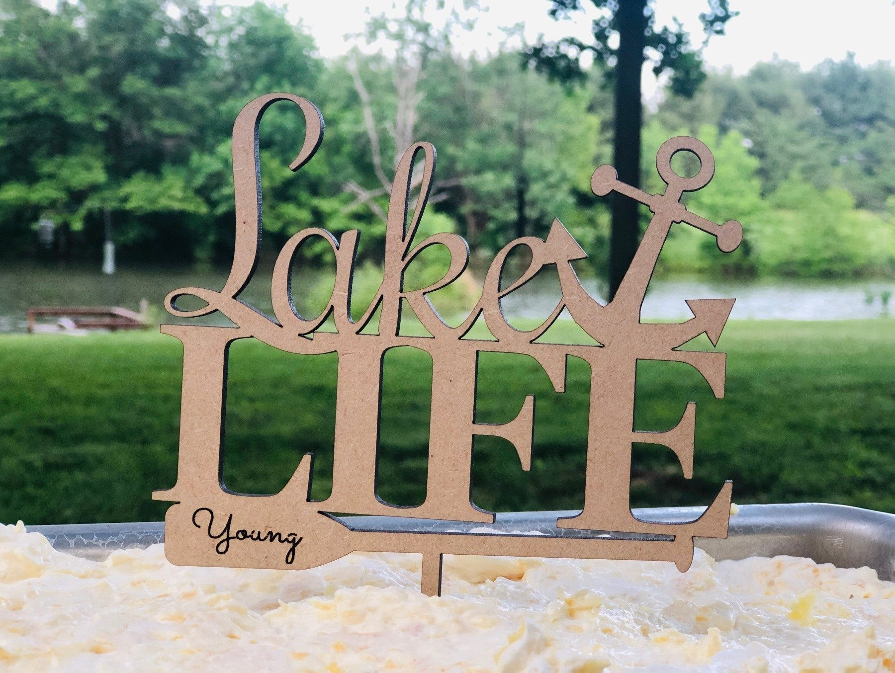 Personalized Lake Life Cake Topper - Made in Wood or Acrylic, Cake Toppers, designLEE Studio, designLEE Studio