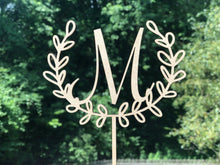 Load image into Gallery viewer, Laurel Wreath Cake Topper | Personalized Wedding Cake Topper | Bridal Shower Topper, Cake Toppers, designLEE Studio, designLEE Studio