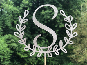 Laurel Wreath Cake Topper | Personalized Wedding Cake Topper | Bridal Shower Topper, Cake Toppers, designLEE Studio, designLEE Studio