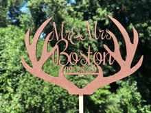 Load image into Gallery viewer, Deer Antlers Cake Topper | Rustic Wedding Cake Topper | Anniversary Cake Topper, Cake Toppers, designLEE Studio, designLEE Studio