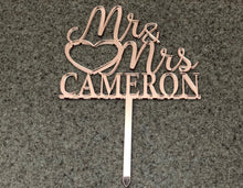 Load image into Gallery viewer, Rose Gold Mirror Acrylic Mr & Mrs Last Name Cake Topper | Personalized Cake Topper, Cake Toppers, designLEE Studio, designLEE Studio