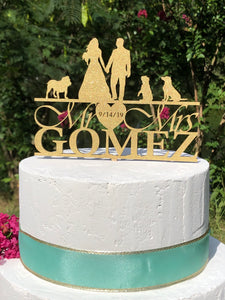 Silhouette Wedding Cake Topper | Personalized Wedding Cake Topper | Dog Cake Topper, Cake Toppers, designLEE Studio, designLEE Studio