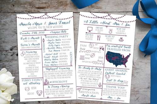 InfoGraphic Wedding Program | Fun Milestone Memory Program, Wedding Program, designLEE Studio, designLEE Studio