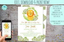 Load image into Gallery viewer, Jungle Lion Baby Shower Invitation | Safari Lion Shower Invite, Baby Shower, designLEE Studio, designLEE Studio