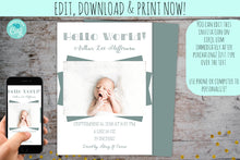 Load image into Gallery viewer, Modern Birth Announcement Photo Card Boy or Girl | Fun Stats, Baby Birth Announcement Card, designLEE Studio, designLEE Studio