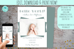 Modern Birth Announcement Photo Card Boy or Girl | Fun Stats, Baby Birth Announcement Card, designLEE Studio, designLEE Studio