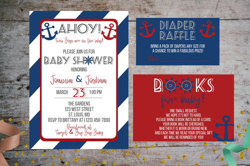 Nautical Navy Baby Shower Invitation Package | Ahoy, It's A Boy Party Package, Baby Shower, designLEE Studio, designLEE Studio