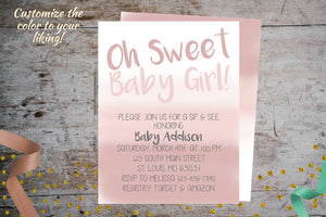 Pink Ombre Sip & See Invitation For a Girl | Meet & Greet Invite Pink Ombre, Meet & Greet, designLEE Studio, designLEE Studio