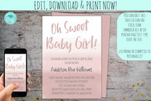 Load image into Gallery viewer, Pink Ombre Sip & See Invitation For a Girl | Meet & Greet Invite Pink Ombre, Meet & Greet, designLEE Studio, designLEE Studio