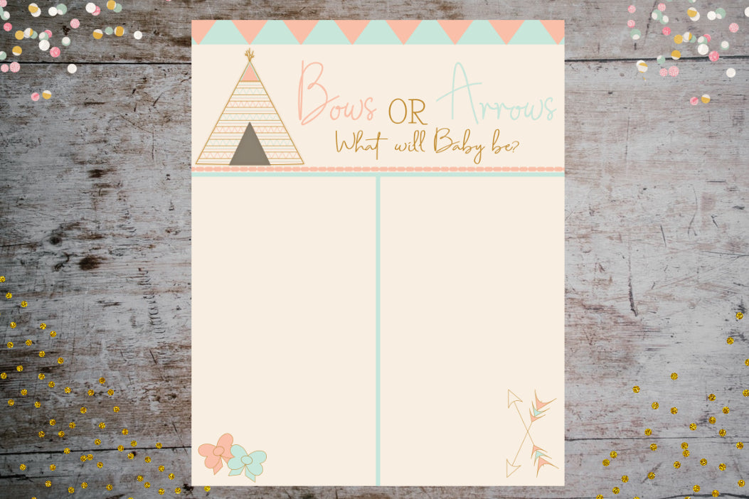 Bows(Girl) or Arrows(Boy) Vote Tally Poster | Gender Reveal Décor and Baby Shower Collection, Poster, designLEE Studio, designLEE Studio