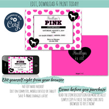 Load image into Gallery viewer, Pretty in Pink Invitation, Birthday Invite, designLEE Studio, designLEE Studio