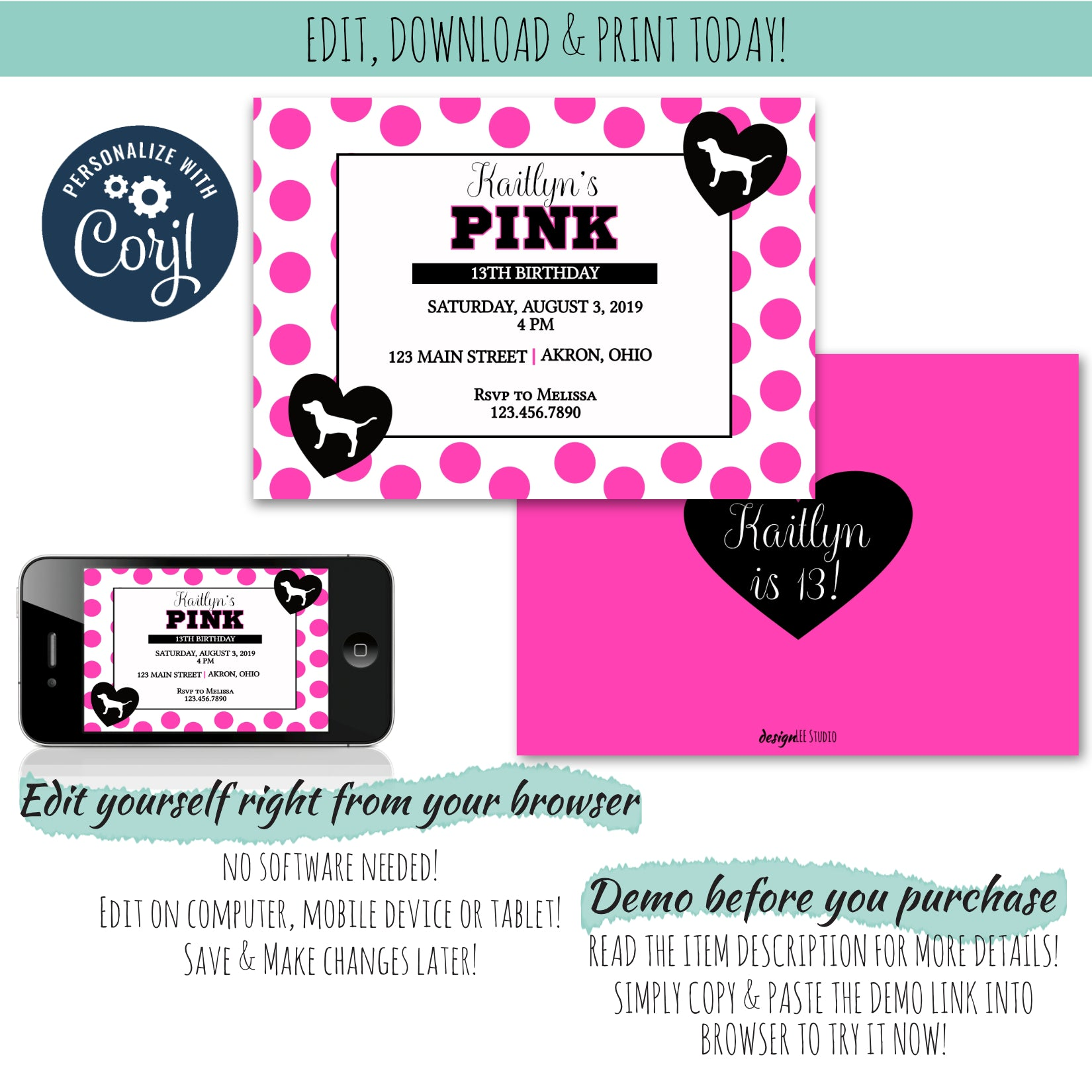 Pretty in Pink Birthday Invitation | Girls Birthday Party Invitation | Personalize, Edit, & Download Today!, Birthday Invite, designLEE Studio, designLEE Studio