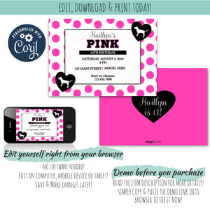 Pretty in Pink Invitation, Birthday Invite, designLEE Studio, designLEE Studio