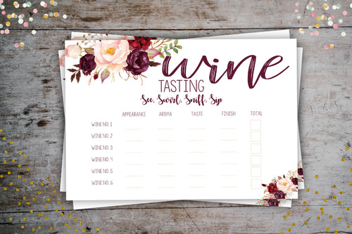 Wine Tasting Score Card | Floral Wine Themed Party Game, Digital Download, designLEE Studio, designLEE Studio