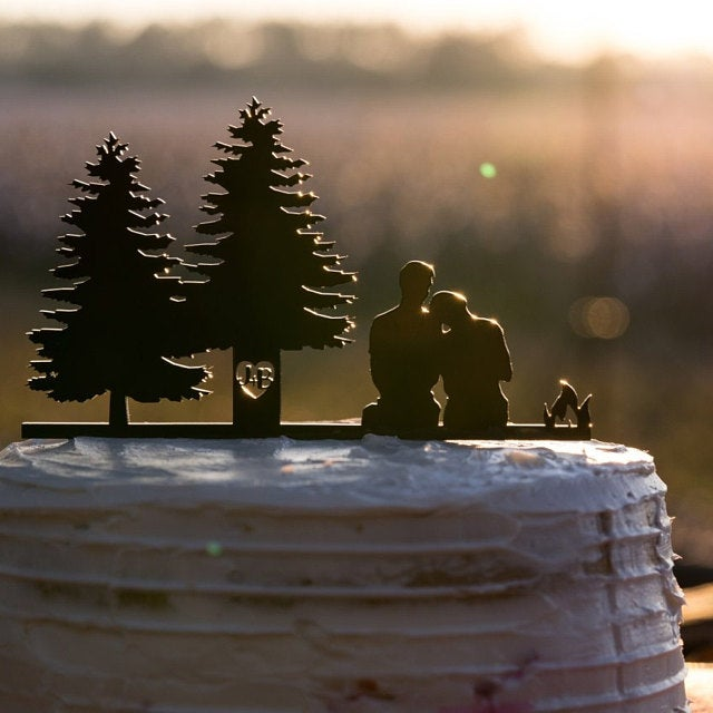 Rustic Silhouette Wedding Cake Topper | Scenic Outdoor Camping Bride & Groom |  Custom Couple Wedding Cake Topper | Anniversary Cake Topper, Wedding Cake Topper, designLEE Studio, designLEE Studio