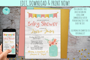 Shabby Chic Baby Shower Invitation | Rustic Grey Floral Mason Jar, Baby Shower, designLEE Studio, designLEE Studio