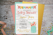 Load image into Gallery viewer, Shabby Chic Baby Shower Invitation | Rustic Grey Floral Mason Jar, Baby Shower, designLEE Studio, designLEE Studio