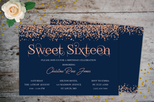 Rose Gold Sweet Sixteen Glitter Invitation | Rose Gold Glitter Navy, Birthday Invite, designLEE Studio, designLEE Studio