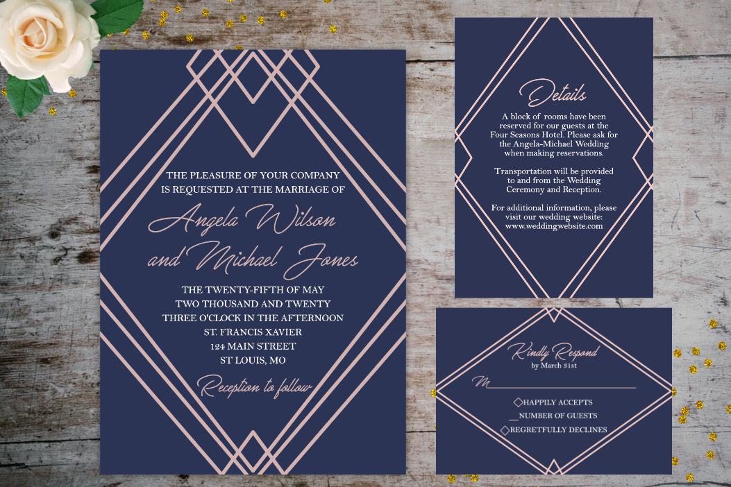 Geometric Wedding Invitation Suite | Wedding Invitation Package, Wedding Invitation Suite, designLEE Studio, designLEE Studio