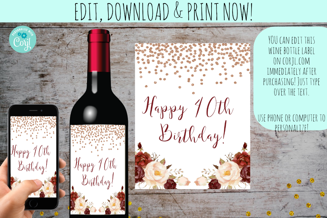 Printable Birthday Wine Bottle Labels | Happy Birthday Wine Bottle Labels, Digital Download, designLEE Studio, designLEE Studio