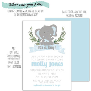 Elephant Baby Shower Party Invitation Set For a Boy | Baby Elephant Baby Shower Invitation, Baby Shower, designLEE Studio, designLEE Studio