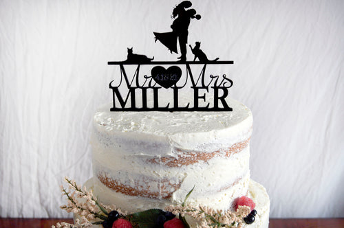Silhouette Wedding Cake Topper | Custom Bride & Groom Anniversary Topper | Personalized Family Name | Custom Dogs or Pets | Wood or Acrylic Gift