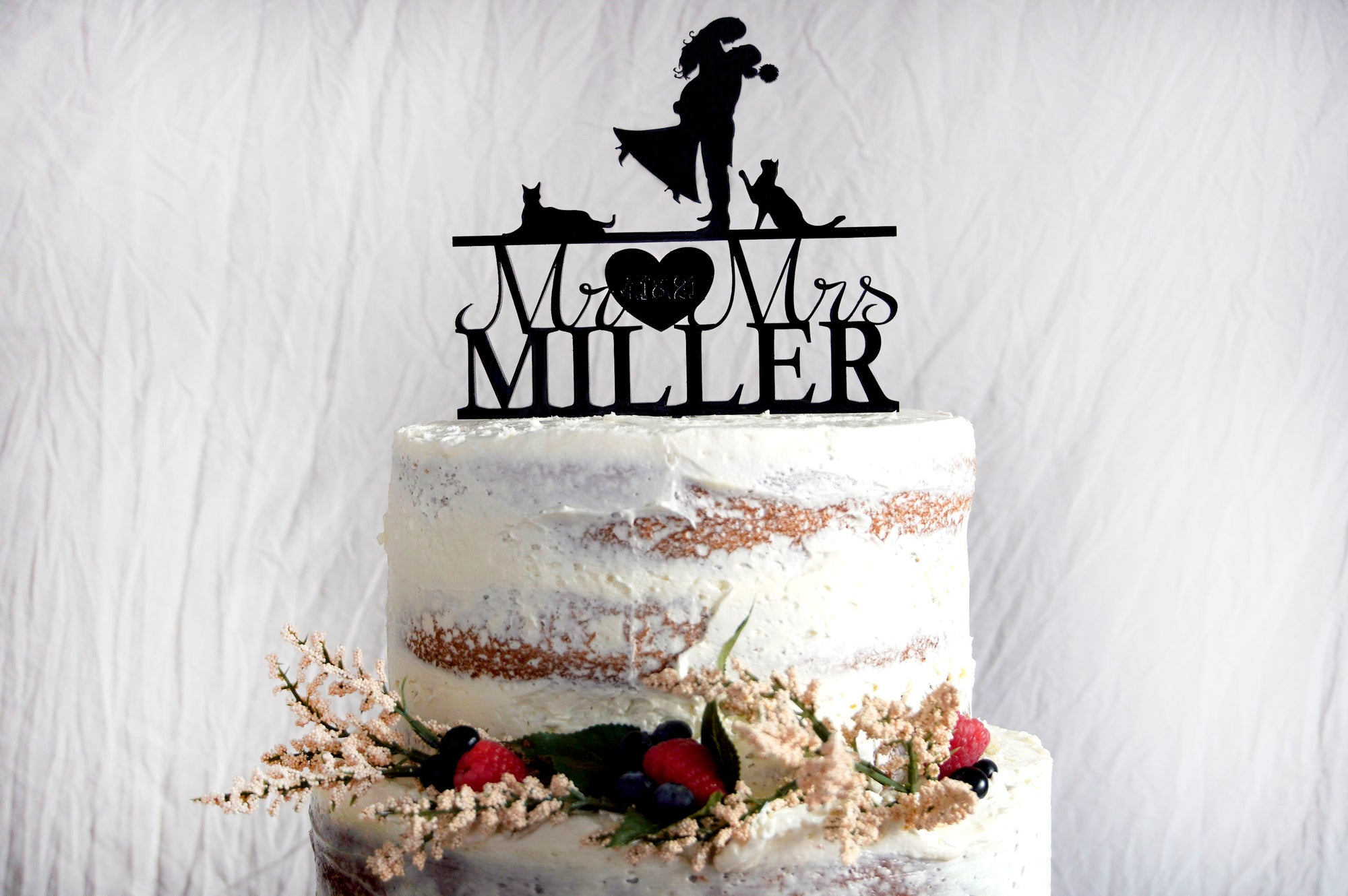 Silhouette Wedding Cake Topper | Custom Bride & Groom Anniversary Topper | Personalized Family Name | Custom Dogs or Pets | Wood or Acrylic Gift, Cake Toppers, designLEE Studio, designLEE Studio