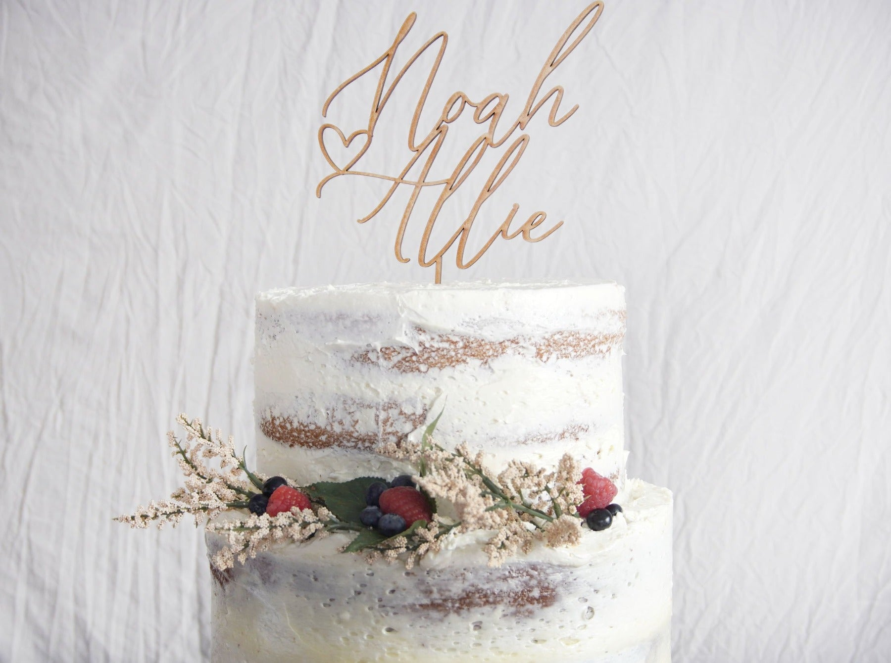 Rustic Couples Name Wedding Cake Topper | Calligraphy Script | Personalized Anniversary Topper | Gold, Silver, & Rose Gold Wood Gift, Cake Toppers, designLEE Studio, designLEE Studio