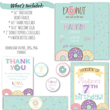 Load image into Gallery viewer, Donut Birthday Party Invitation Set | Donut Grow Up Birthday Party Invitation, Digital Download, designLEE Studio, designLEE Studio